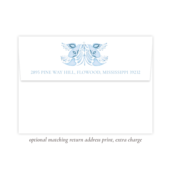 Alleluia Birth Announcement Christmas Card in Blue