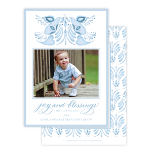 Alleluia Bird Blue Change of Address Christmas Card