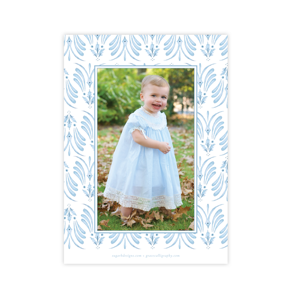Alleluia Bird Blue Vertical Two Photo Christmas Card