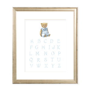 Alphabet Print in Blue Watercolor Print