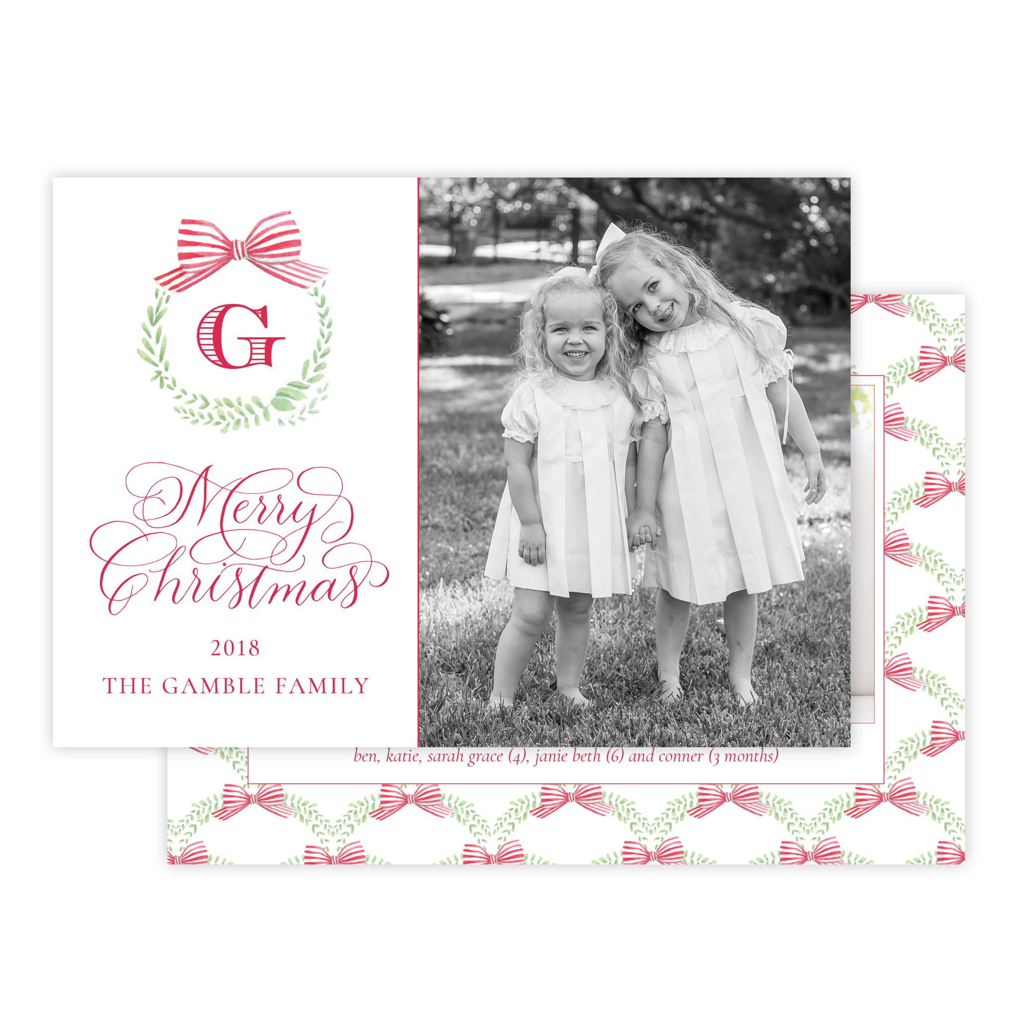 Angel Baby Red Pattern Landscape Christmas Card