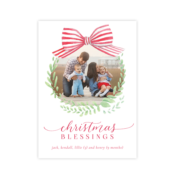 Angel Baby Red Wreath Two Sides Christmas Card