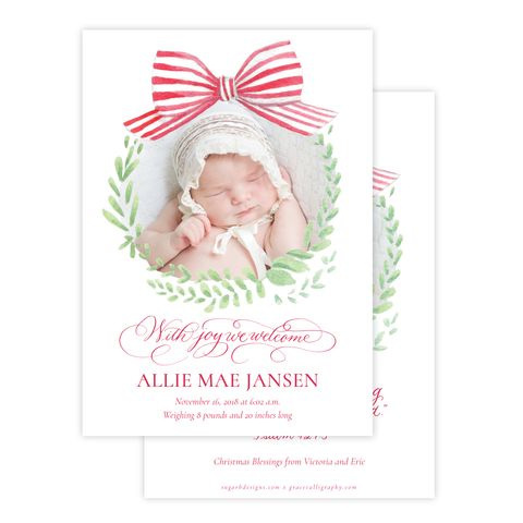 Angel Baby Red Wreath Two Sides Birth Announcement Christmas Card