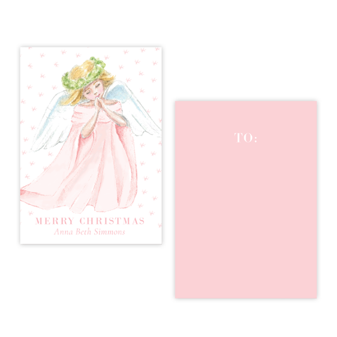 Praying Angel in Pink 4 Bar Christmas Gift Tag