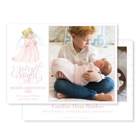 Praying Angel in Pink Birth Announcement Christmas Card