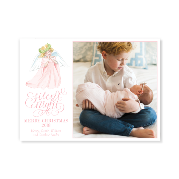 Angel in Pink Birth Announcement Christmas Card