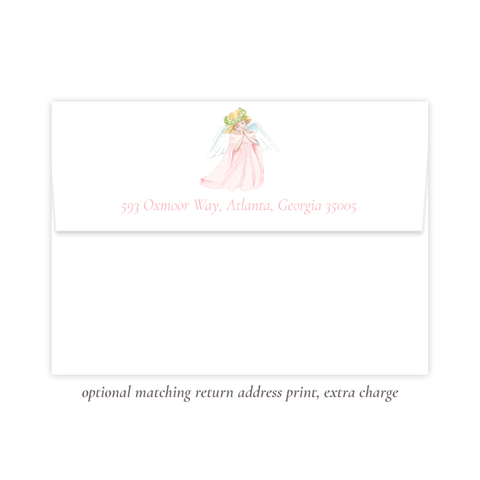 Praying Angel in Pink Return Address Print