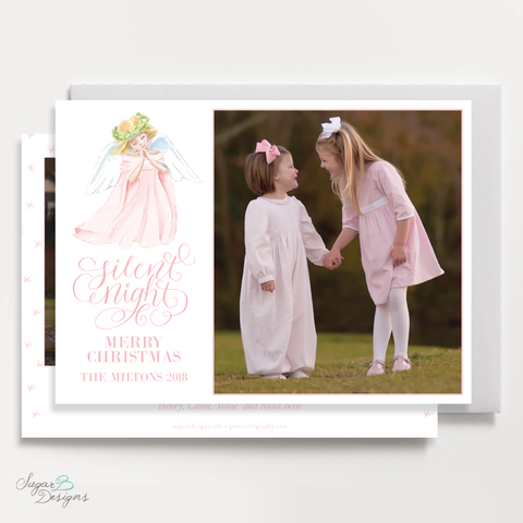 Praying Angel in Pink Two Photo Horizontal Christmas Card