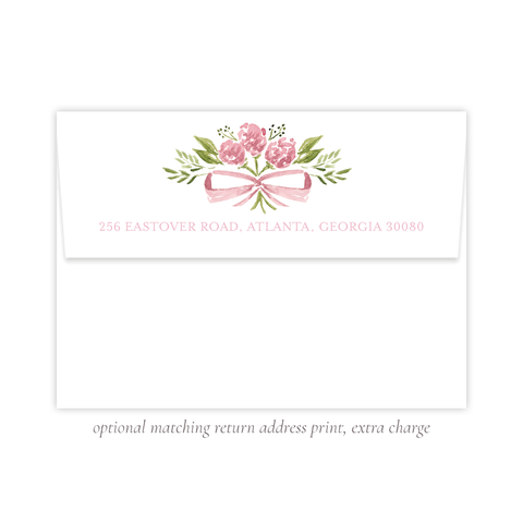 Arabella Pink Stationery Return Address Print