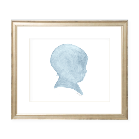 Baby Boy Silhouette Blue Landscape Watercolor Print by Sugar B Designs