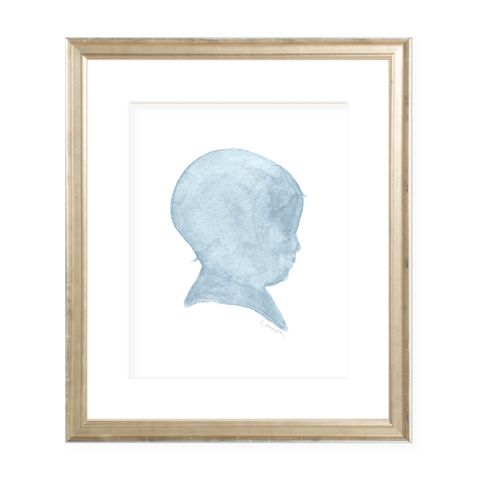 Baby Boy Silhouette Blue Portrait Watercolor Print by Sugar B Designs