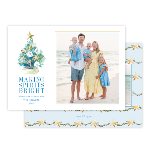 Beach Tree Christmas Card Landscape by Sugar B Designs