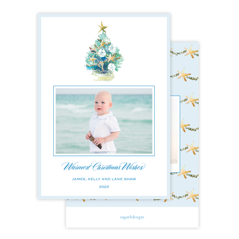 Beach Tree Christmas Card Portrait