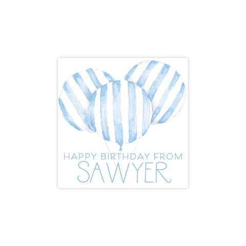 Balloon Blue Stripe Square Sticker
