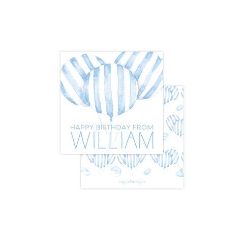 Balloon Blue Stripe Calling Card