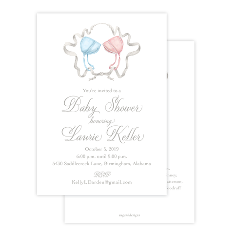 Bailey's Bonnet Pink and Blue Twins Sash Wreath Baby Shower Invitation