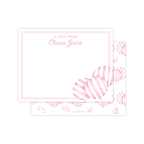 Balloon Pink Stripe Flat Stationery