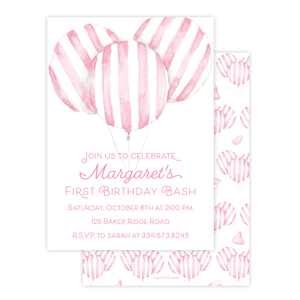 Balloon Pink Stripe Birthday Invitation