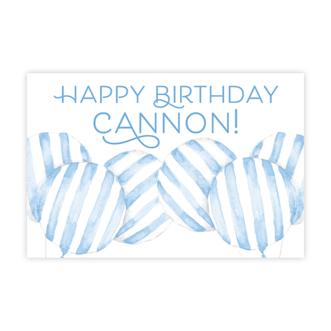 Balloon Blue Stripe 24x36 Banner