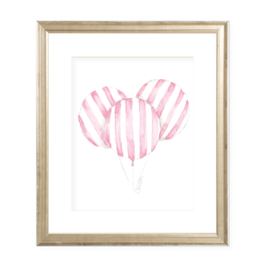 Balloon Pink Stripe Watercolor Print
