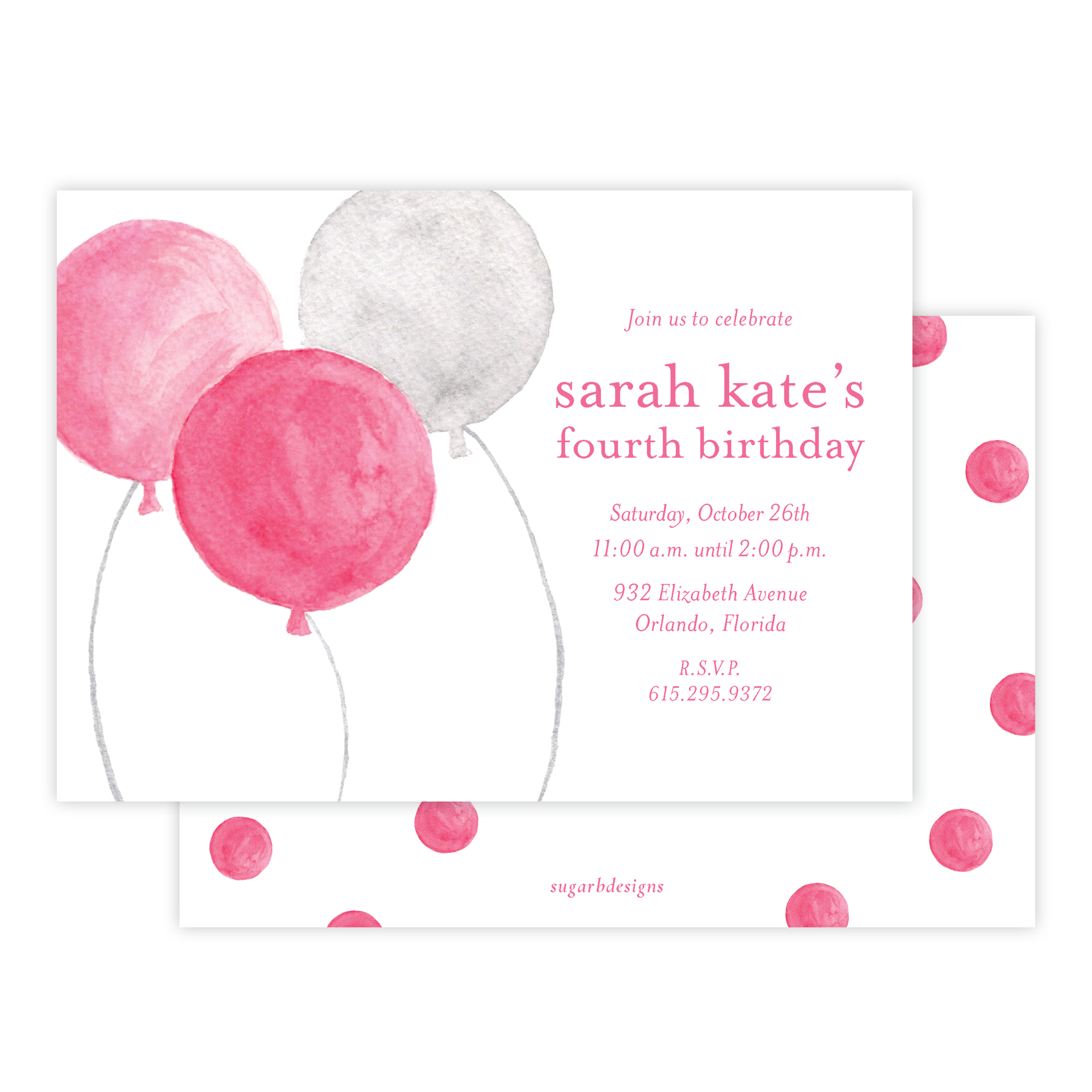 Balloons for Cates Pink Birthday Invitation
