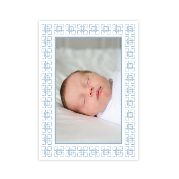 Bamboo Belle Blue Birth Announcement Christmas Card