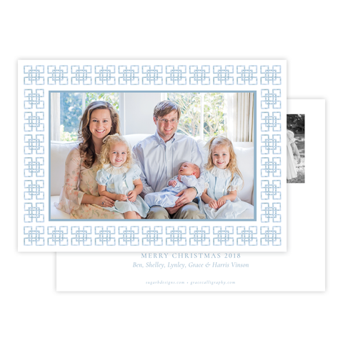 Bamboo Belle Blue Horizontal Christmas Card
