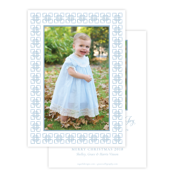 Bamboo Belle Blue Vertical Christmas Card