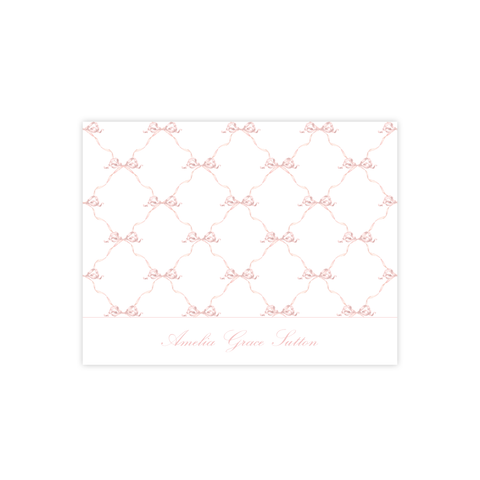 Banner Ribbon Pink Fold Over Stationery