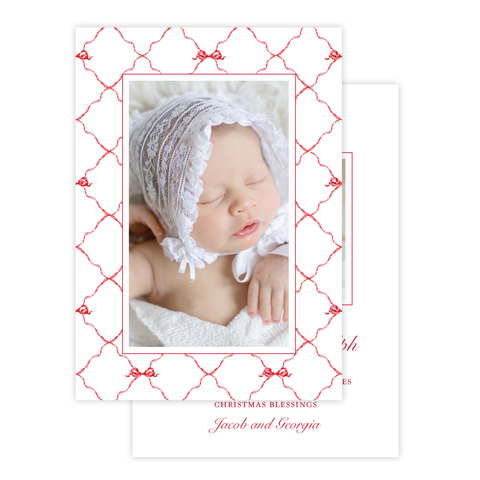 Banner Ribbon in Red Birth Announcement Christmas Card