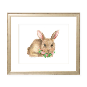 Bennett Bunny and Pink Flowers Watercolor Print