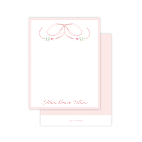 Bethany Bow Pink Flat Stationery