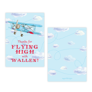 Biplane Birthday 4 Bar Party Favor Gift Tag