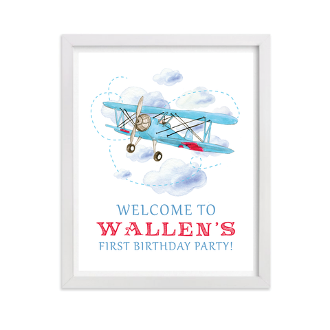 Biplane Birthday Party Sign