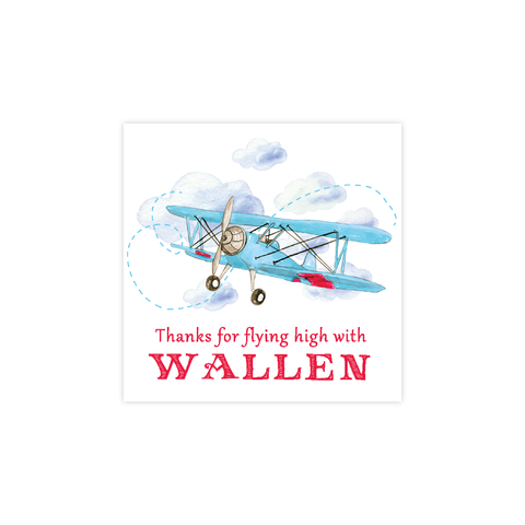 Biplane Birthday Square Sticker
