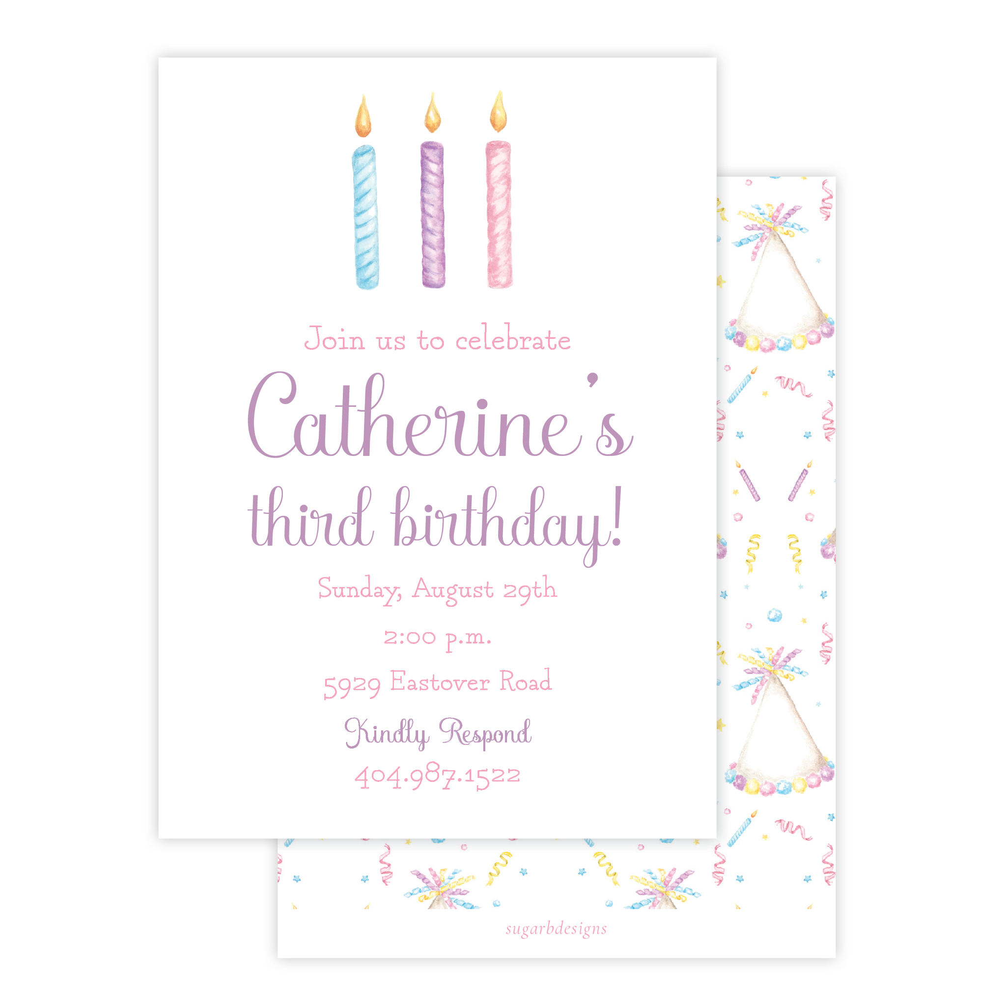 Birthday Candles Colorful Birthday Invitation