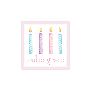 Birthday Candles Colorful Pink Square Sticker