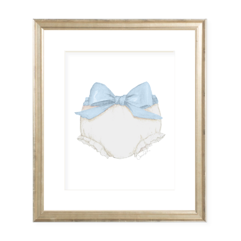 Bloomers and Bow Blue Watercolor Print