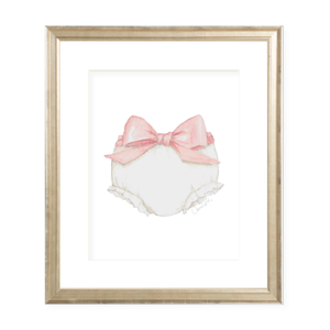 Bloomers and Bow Pink Portrait Watercolor Print