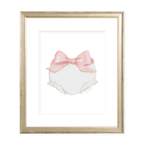 Bloomers and Bow Pink Watercolor Print