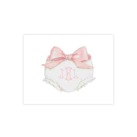 Bloomers and Bow Pink Fold Over Stationery