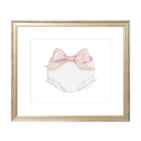 Bloomers and Bow Landscape Pink Watercolor Print