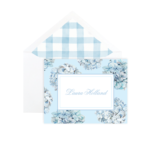 Blue Hydrangea Pattern Fold Over Stationery