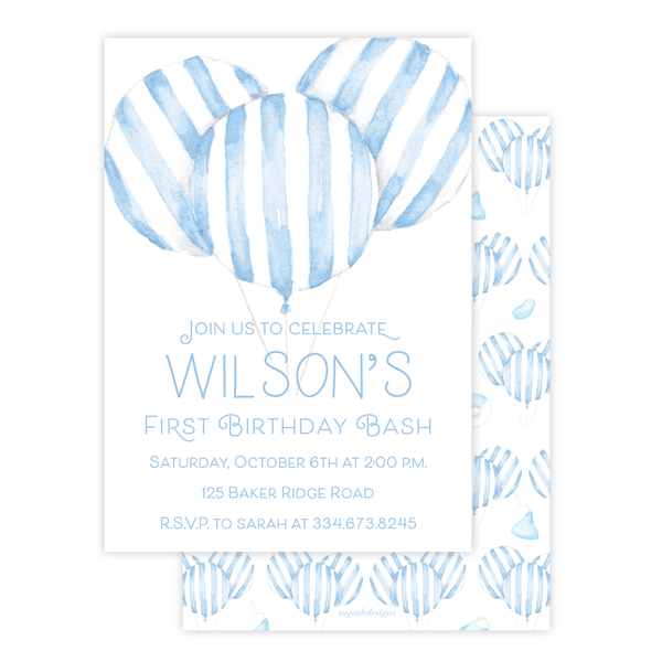 Balloon Blue Stripe Birthday Invitation