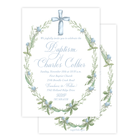 Blue Cross Large Wreath Baptism Invitation