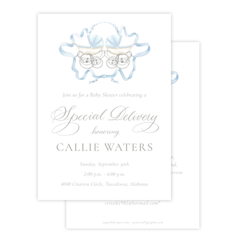 Pram Blue Twins Baby Shower Invitation