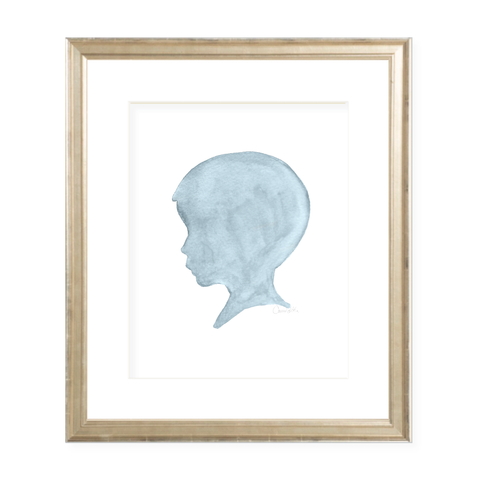 Silhouette Blue Boy Watercolor Print