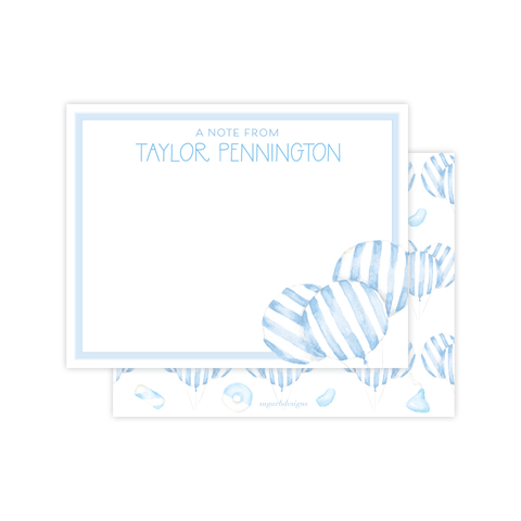 Balloon Blue Stripe Flat Stationery