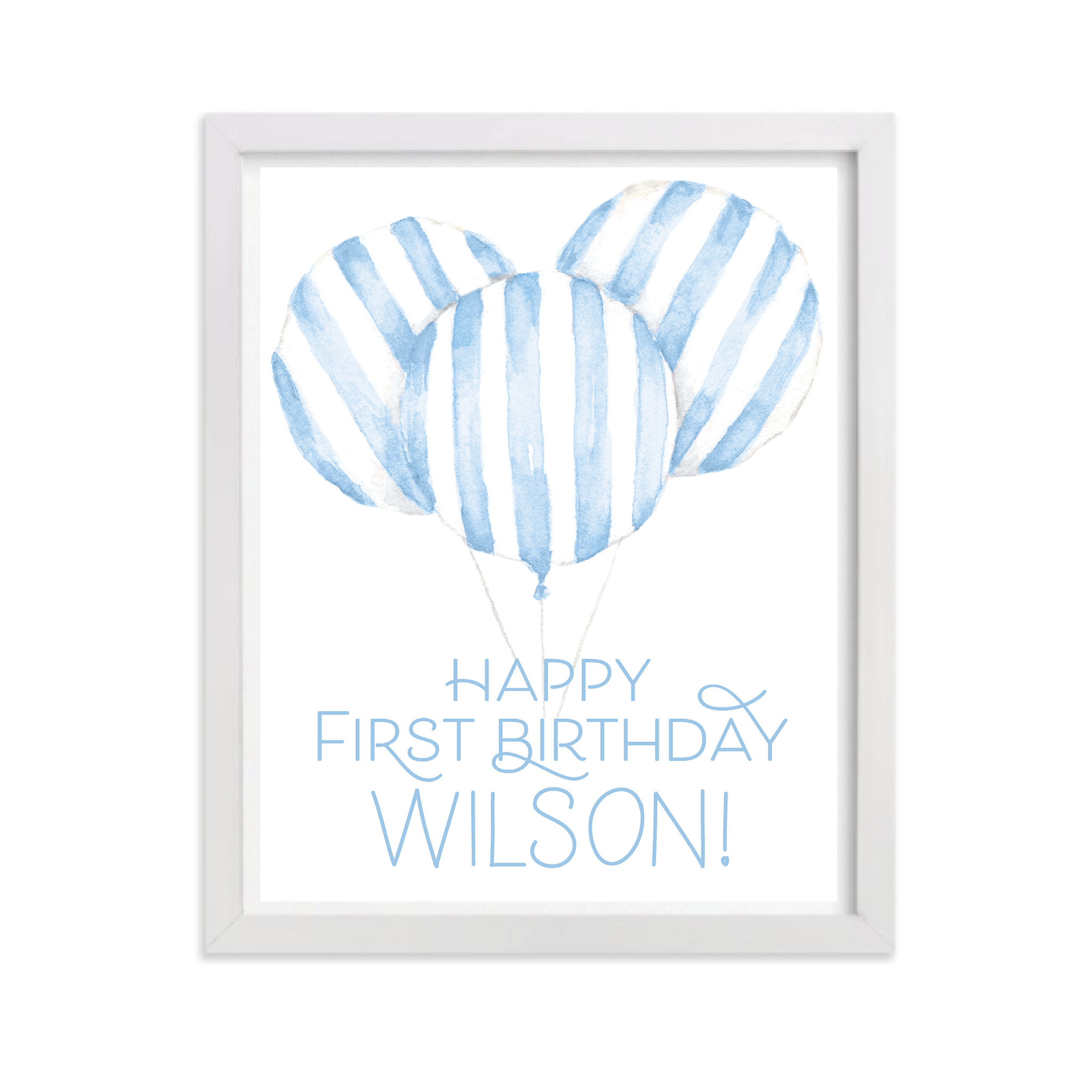 Balloon Blue Stripe Party Sign