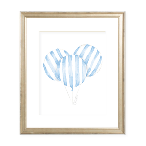 Balloon Blue Stripe Watercolor Print
